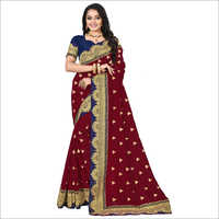 Ladies Embroidered Border Reception Saree