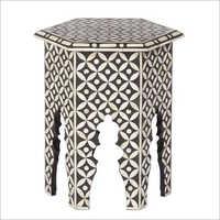 Bone Inlay Hexagon Black Side Table