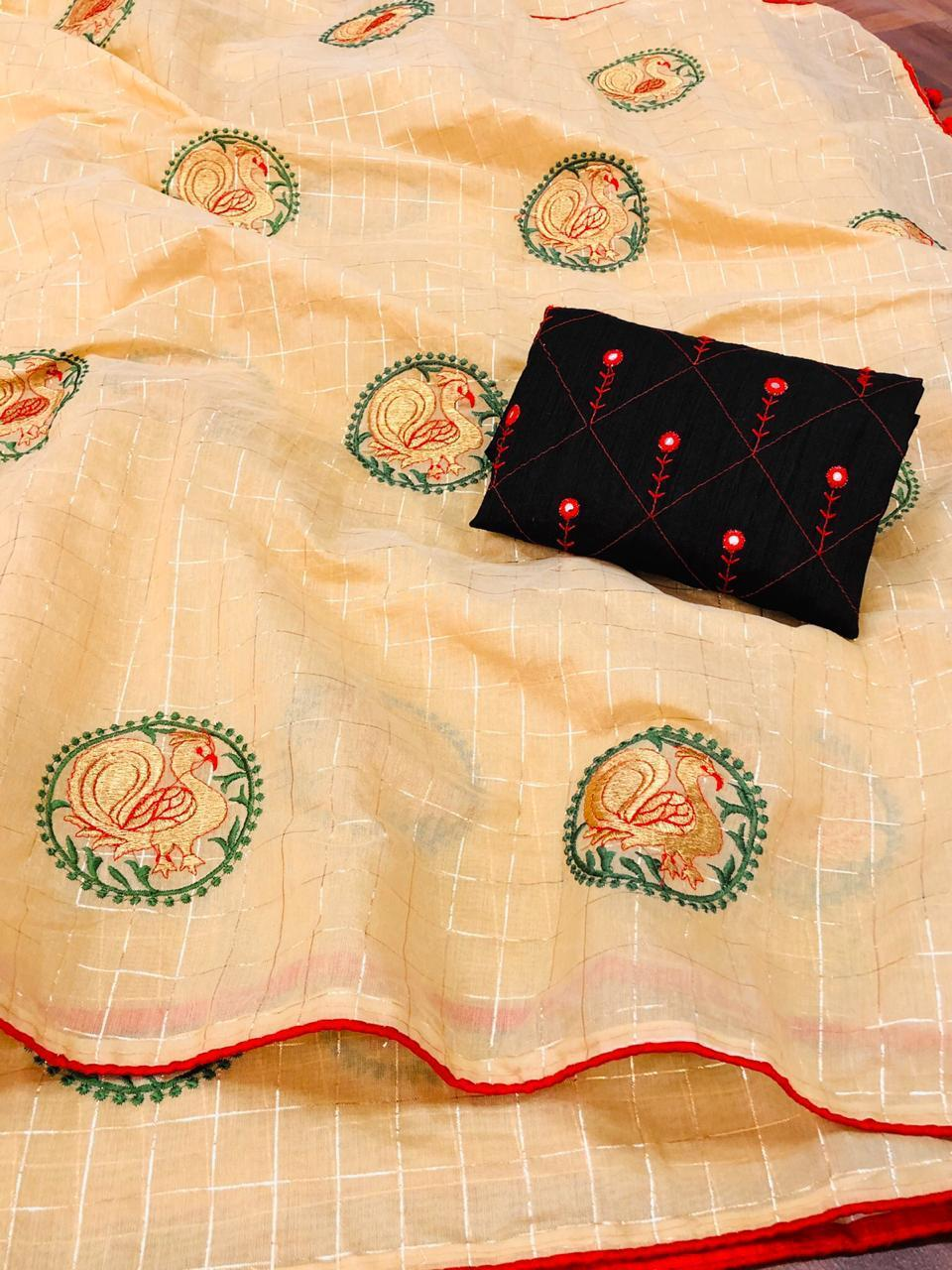 Embroidery Work Silk Saree