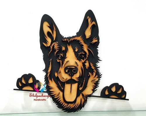 3D Wooden Dog Face