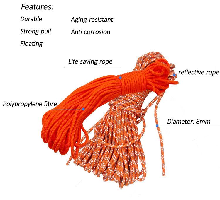 Outdoor safety life rope rescue throw bag floating lifesaving rope Rescue throw reflective escape kit bracelet orange