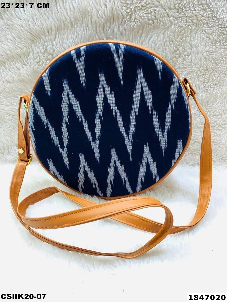 Multicolor Ikkat Round Sling Bags