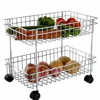 2 Layer Fruit and Vegetable Stand/Basket/Trolley Modern Kitchen Storage Rack