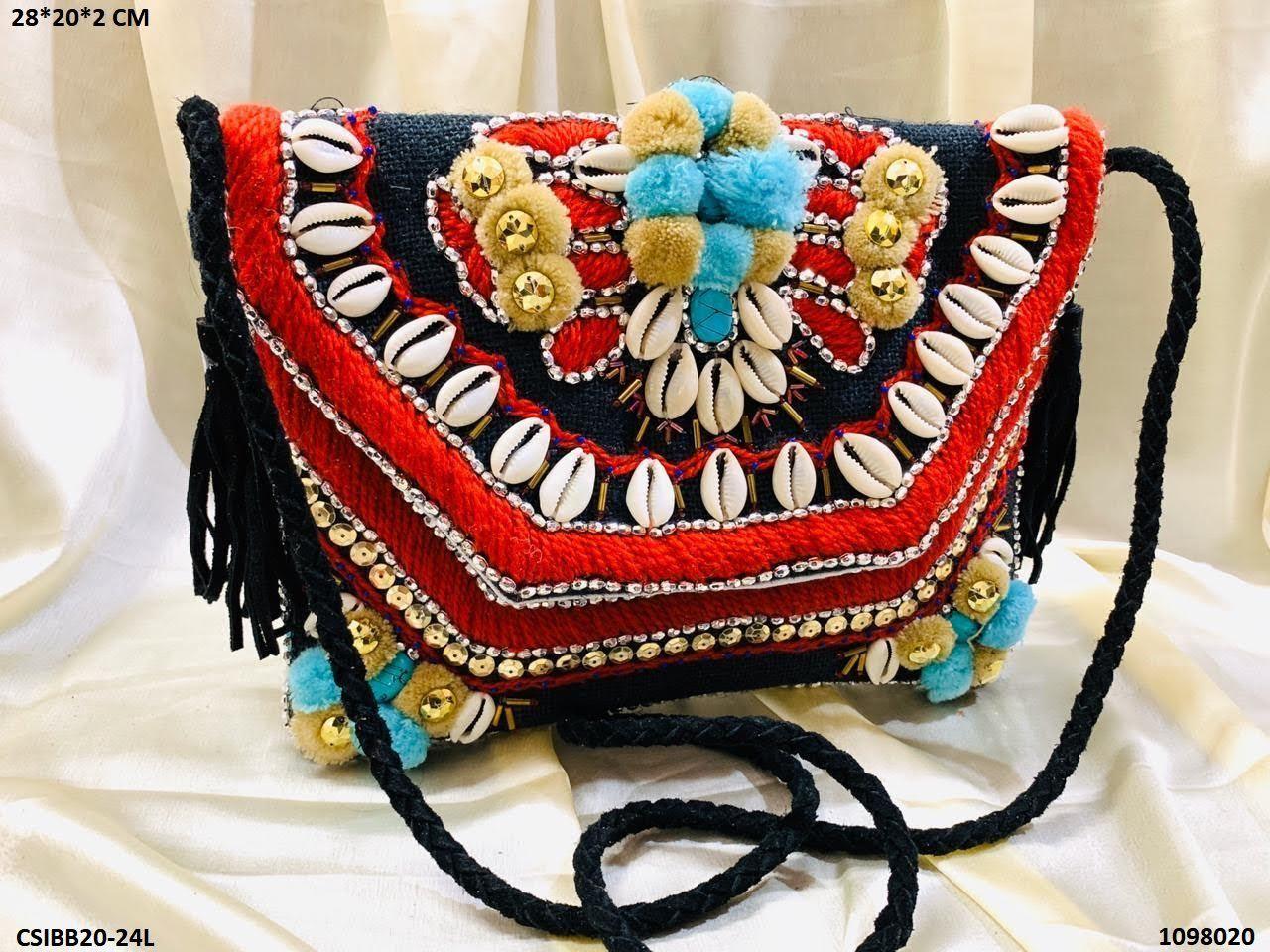 Designer Jute Banjara Bag With Leather Belt