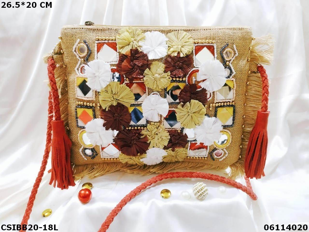 Designer Jute Banjara Bag With Leather Belt