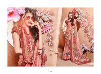 printed moss georgette fancy saree