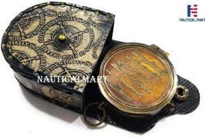 Thoreau's Go Confidently Quote Compass with Engraved Leather Case with Stamp
