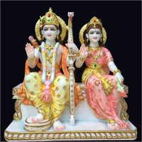 Marble Colored Ram Sita Statue