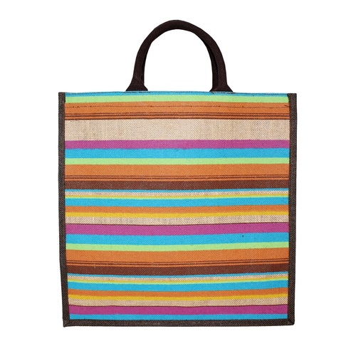 Padded Rope Handle Pp Laminated Allover Striped Print Natural Color Jute Tote Bag