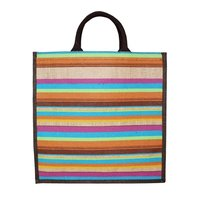 Padded Rope Handle PP Laminated Allover Striped Print Natural Color Jute Tote BagPadded Rope Handle Pp Laminated Allover Striped Print Natural Color Jute Tote Bag