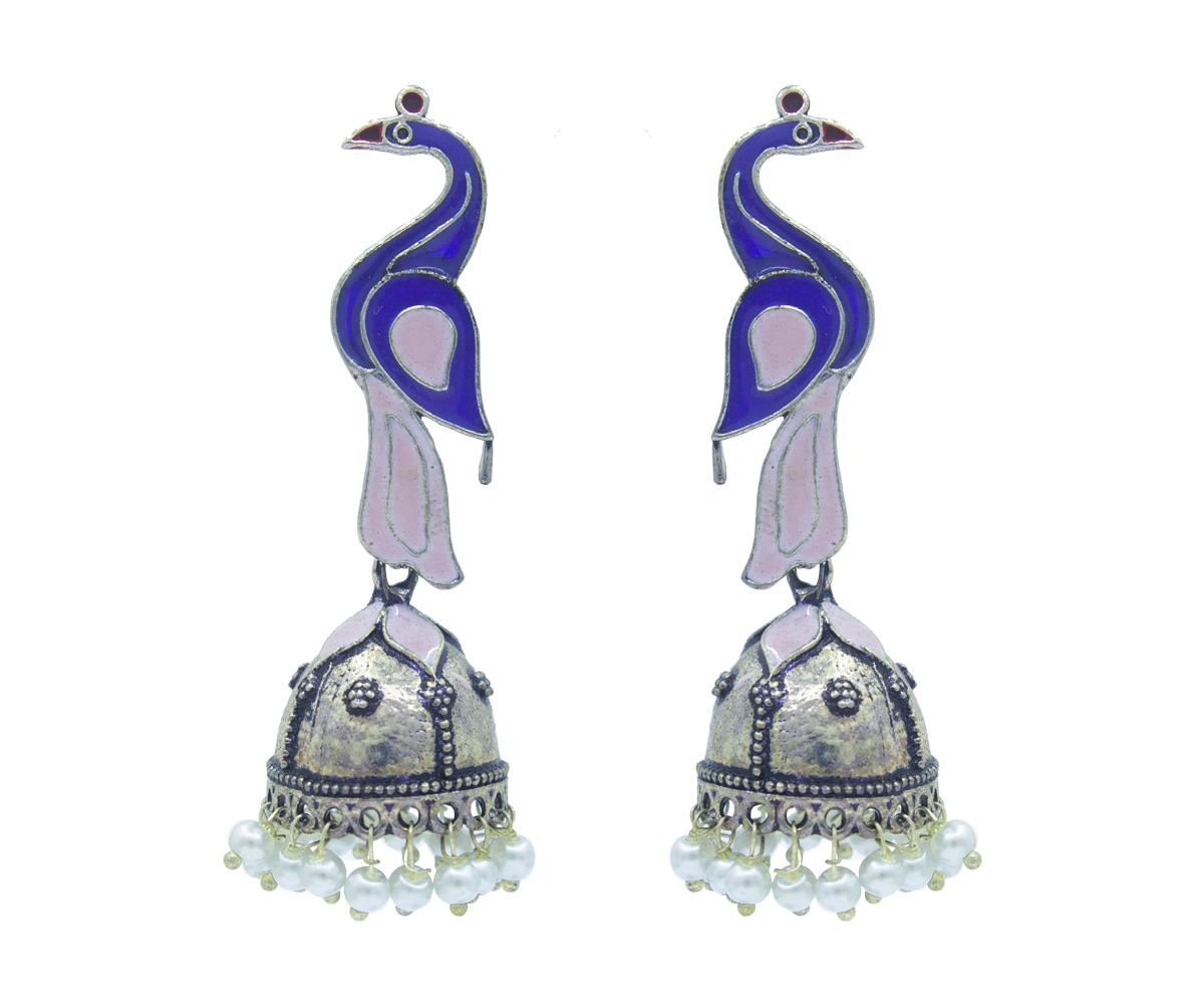 Meenakari Jhumka Oxidised Earrings
