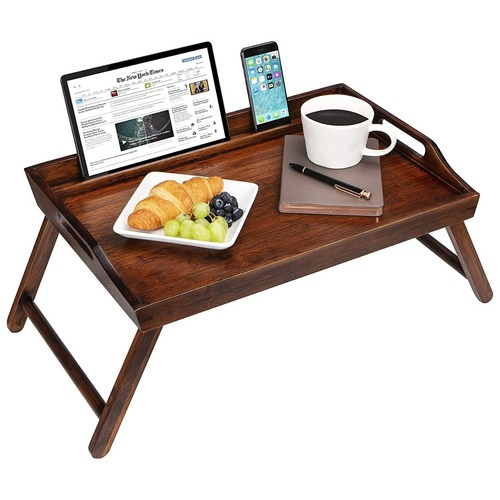Wooden Handicraft Breakfast Table Natural Wood Finish With Tablet And Phone Holder