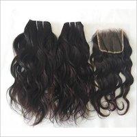 Indian Raw Wavy Human Hair With Closure