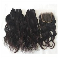 Indian Raw Wavy Human Hair With Closure