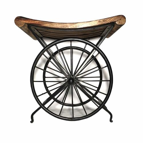 Wrought Iron Wooden Bedside Table | End Table Sitting Stool for Living Room