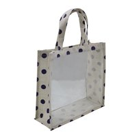 Pvc Window Bag With Top & Side Jute Trimming & With Jute Handle With Overall Print