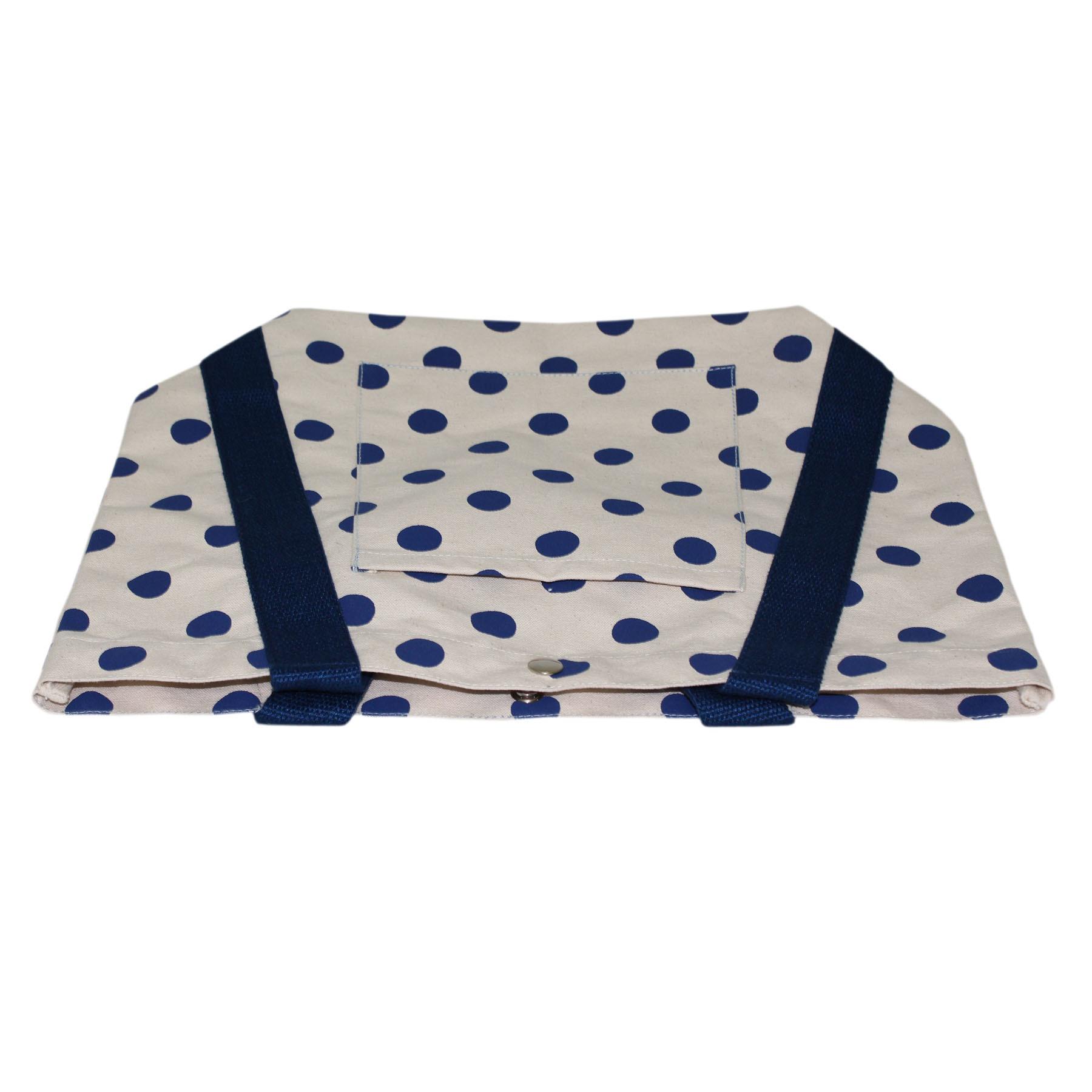 Cotton Web Handle Polka Dot Print 12 Oz Natural Canvas Designer Tote Bag