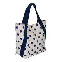 Cotton Web Handle Polka Dot Print 12 Oz Natural Canvas Designer Tote Bag