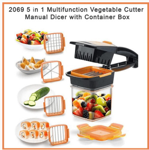 5 In 1 Multifunction Vegetable Cutter Manual Dicer With Container Box