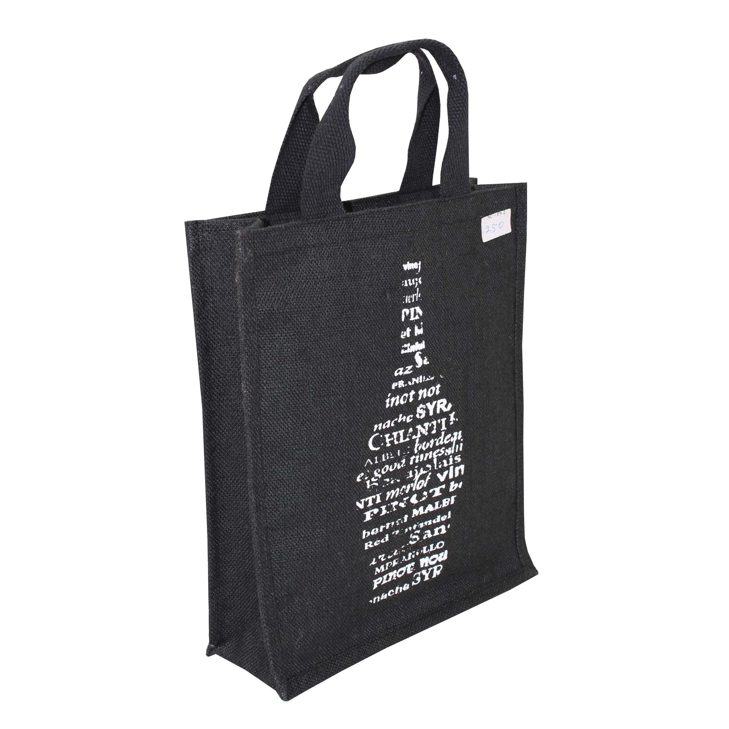 Pp Laminated Jute Three Bottle Bag With Jute Handle