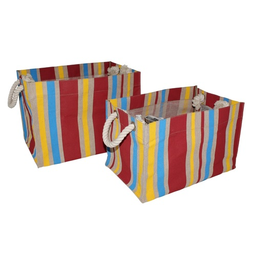 PP Laminated Juco Fabric Box Type Bag With Allover Striped Print