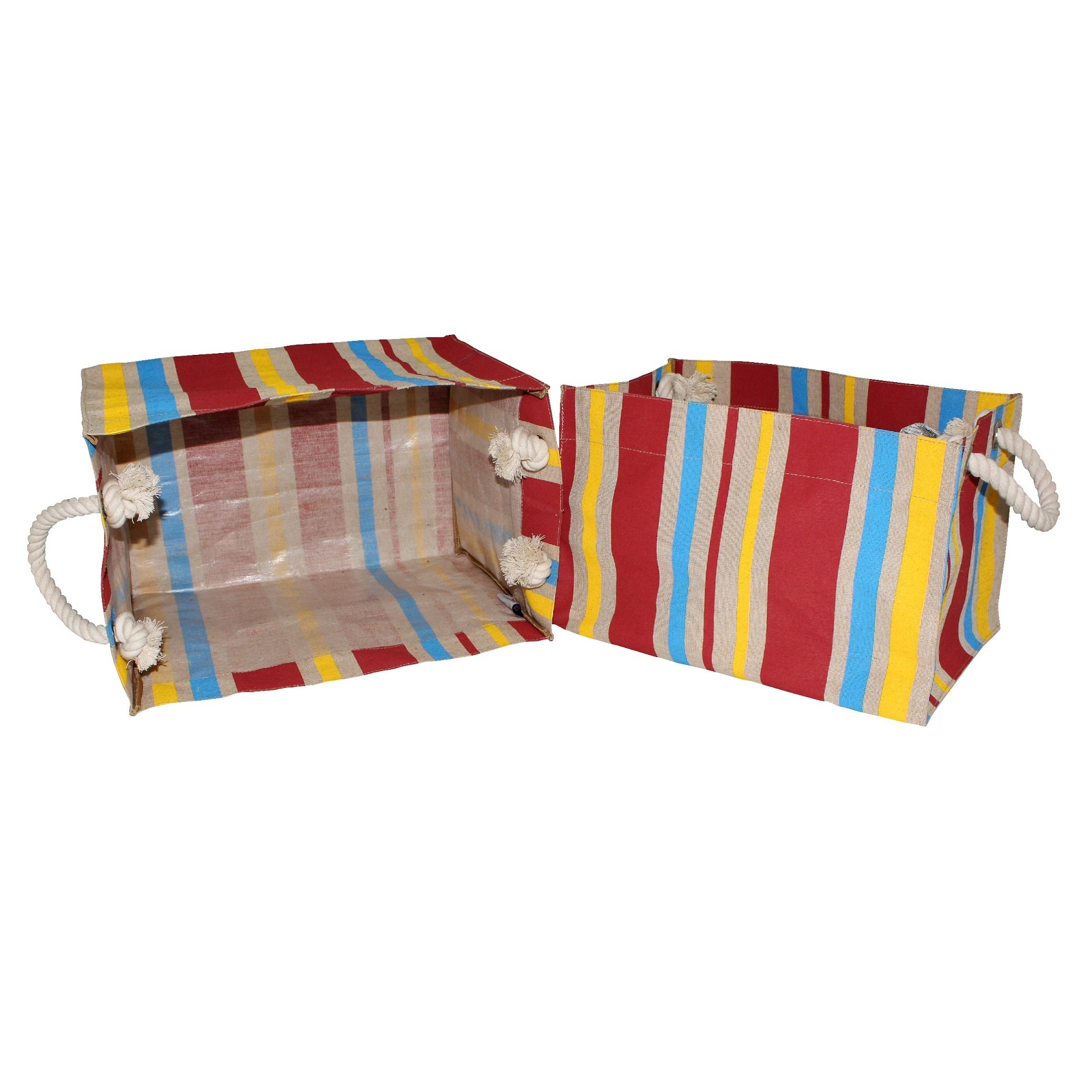 PP Laminated Juco Fabric Box Type Bag With Allover Striped PrintPp Laminated Juco Fabric Box Type Bag With Allover Striped Print
