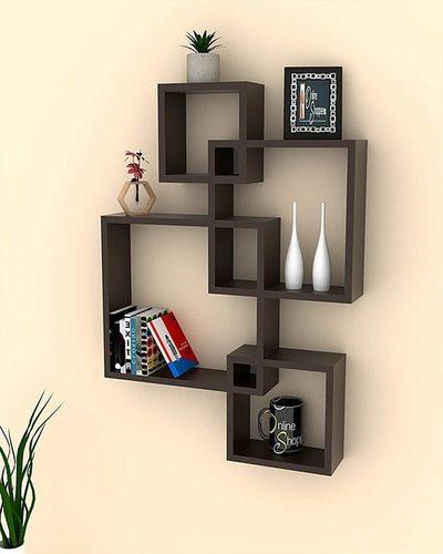 Wall Mount Wall Shelf Four Wall Shelves For Living Room (Standard, Elegant Black)