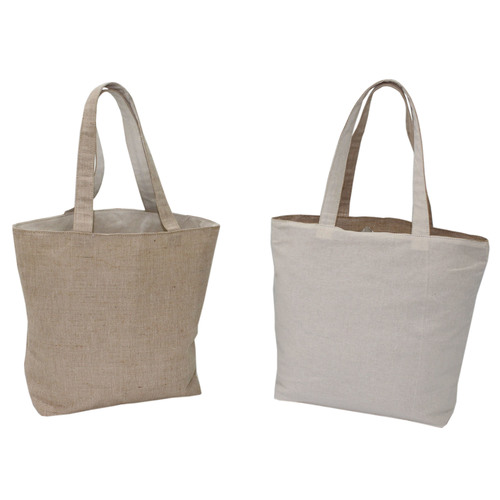 Juco & 150 Gsm Natural Cotton Reversible Tote Bag Without Pocket