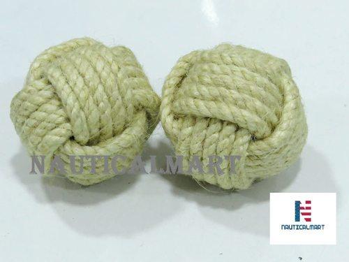 NauticalMart Set of Two Cabinet Jute Rope Shelves Drawer Knobs