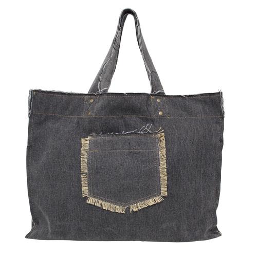 14 Oz Washed Denim Tote Bag With Outside & Inside Pocket