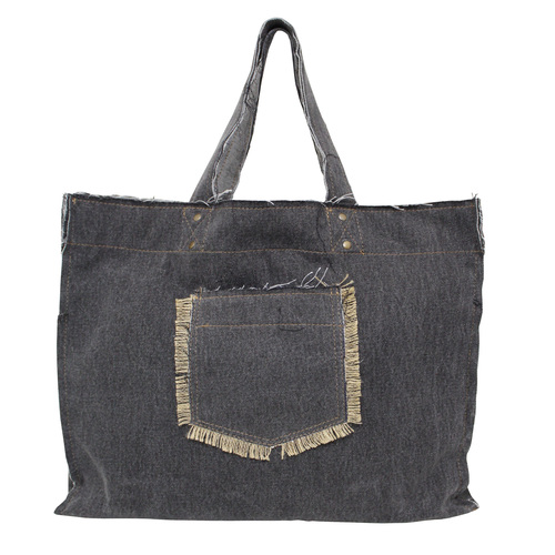 14 Oz Washed Denim Tote Bag With Outside & Inside Pocket