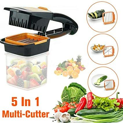 5 in 1 Multi-Function Slicer Vegetable & Fruits Cutter, Dicer Grater & Chopper, Peeler with Container Onion Cutter Kitchen Accessories
