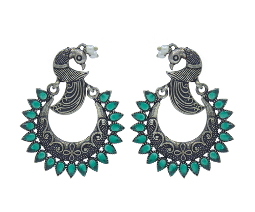 Peacock Design Oxidise Earrings