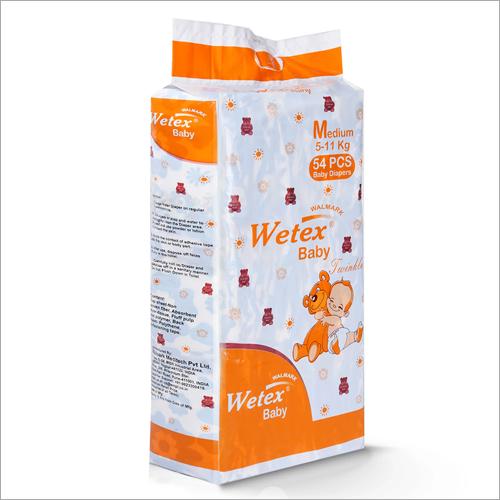 Cotton 54 Pcs Wetex Medium Super Jumbo Baby Diapers