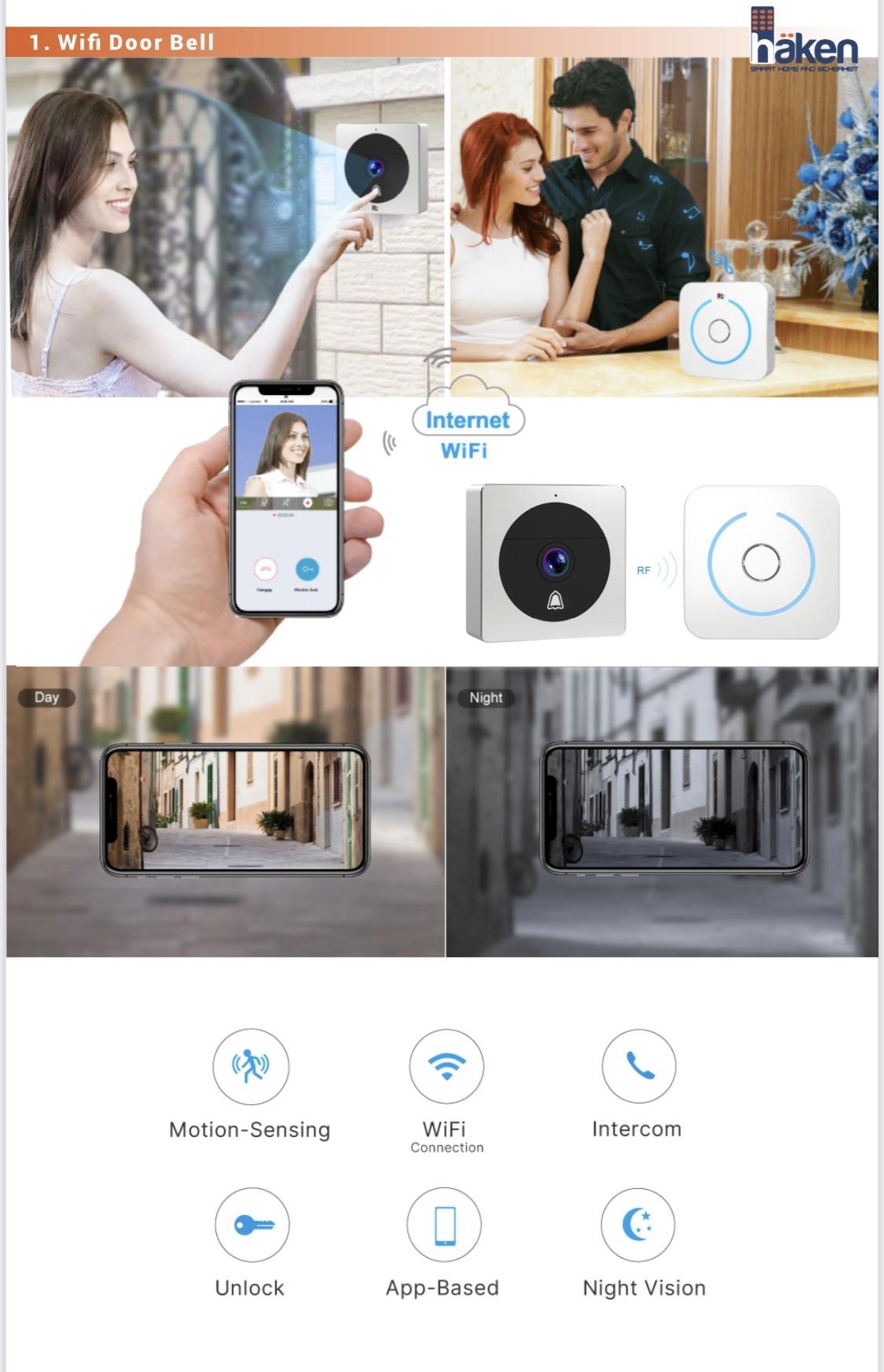 Video Door Phones- HVDP-WFBL20 Wireless Video Door Bell