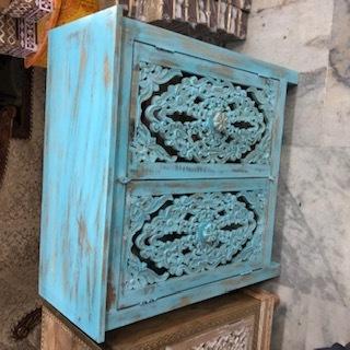 wood carving rustic finish 2door cabinet