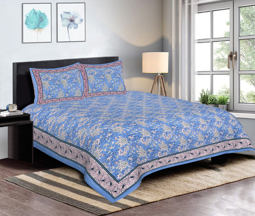 Bedsheet for Double Bed with 2 Pillow Cover Cotton Floral Print Bed Cover Set Blue Color 120 TC Jaipuri Bed Cover (90 x108 Inch)