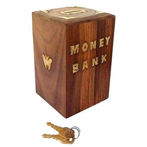 Handicrafted Wooden Money Bank - Coin Saving Box - Piggy Bank - Gifts for Kids, Girls, Boys & Adults