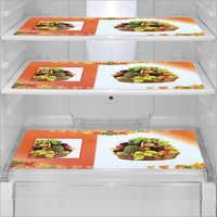 Orange And White Printed Fridge Mats