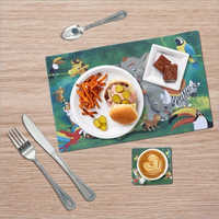 Multicolor Animal Print Table Mat With Coaster