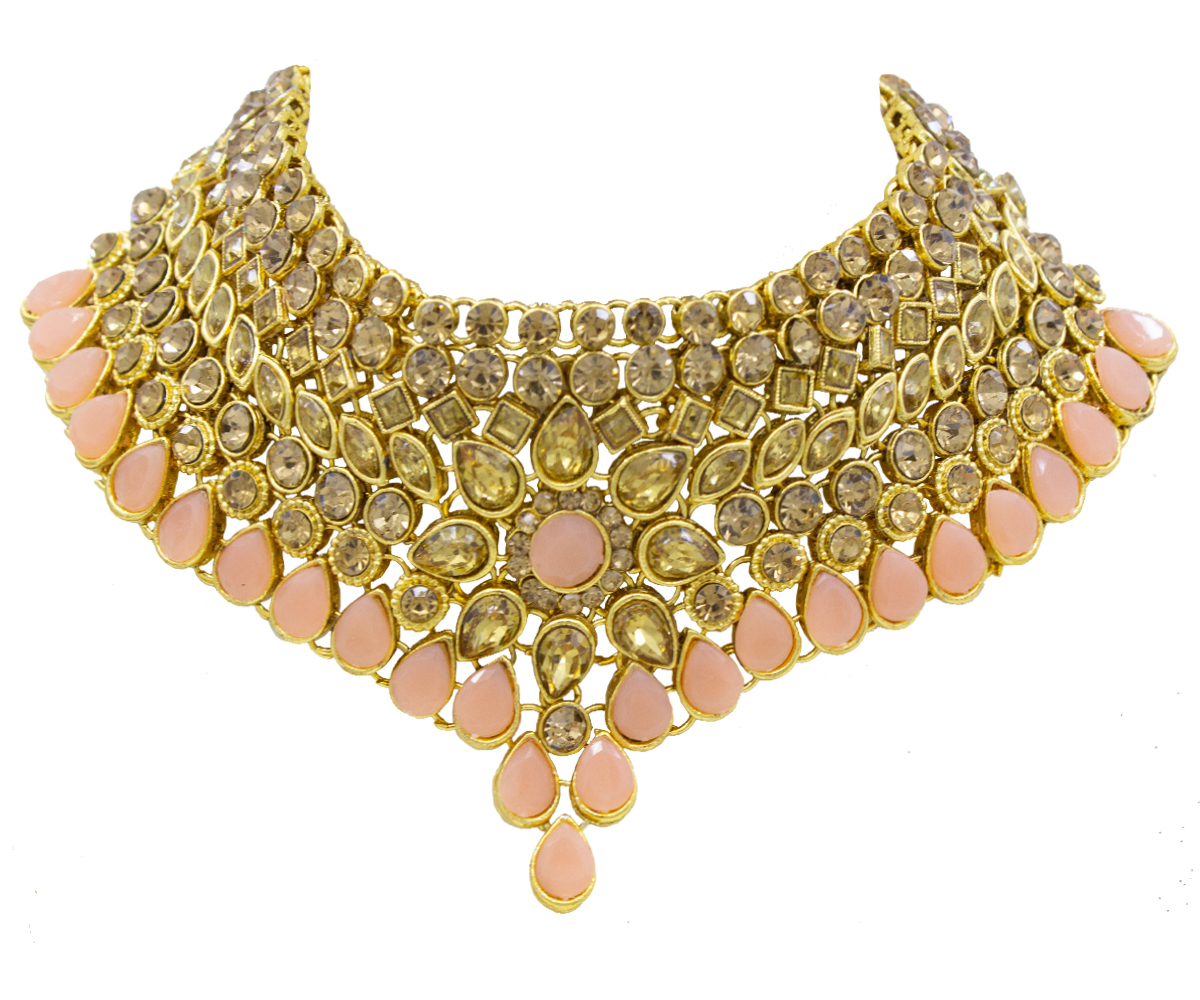 Gold Plated Necklace Set For Women (Peach Color)