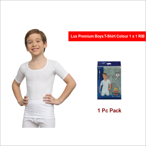 Lux Premium Boys White Colour 1x1 RIB T-Shirt