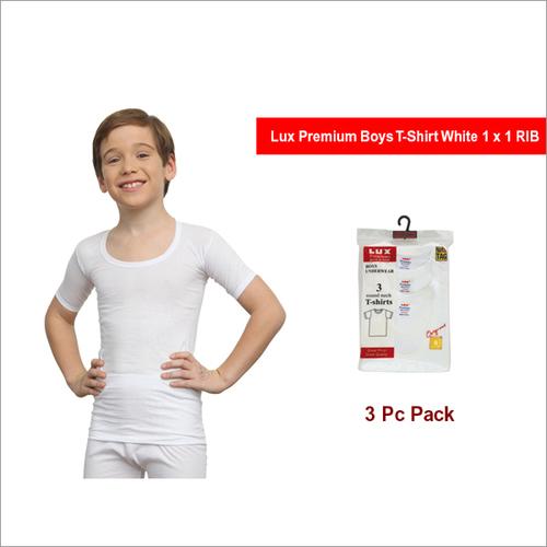 Lux Premium Boys 3pc Pack 1x1 RIB White T-Shirt