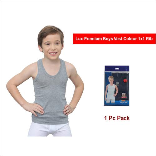 Lux Premium 1 Pc Pack 1x1 Rib Boys Vest