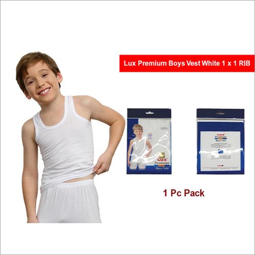 Lux Premium 1 Pc Pack Boys Grey Colour 1x1-RIB Vest