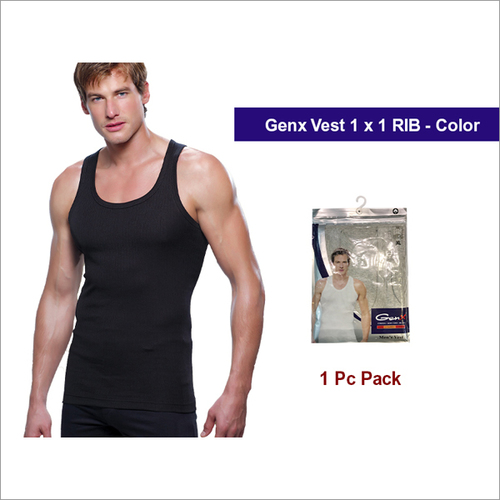 Genx 1Pc Pack Mens Black Vests