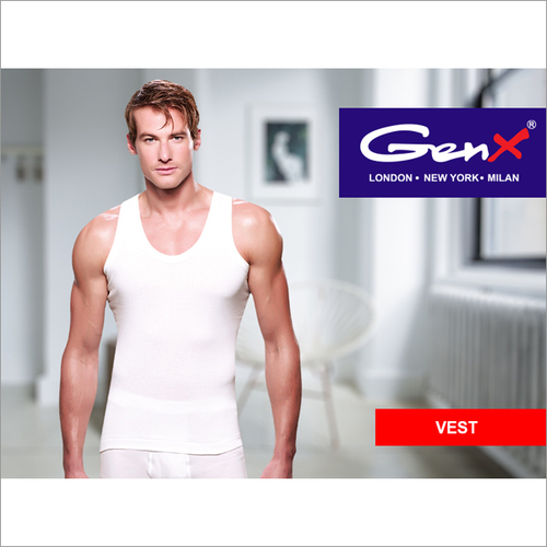 Genx Mens White Vests