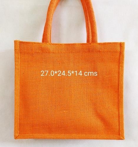 Orange Natural Jute Bag For Shopping