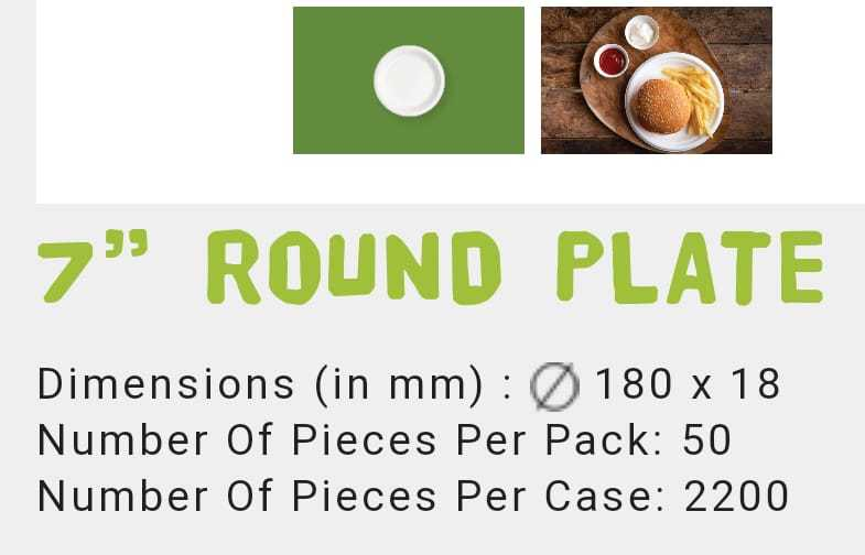 7 Inch Round Bagasse Plate