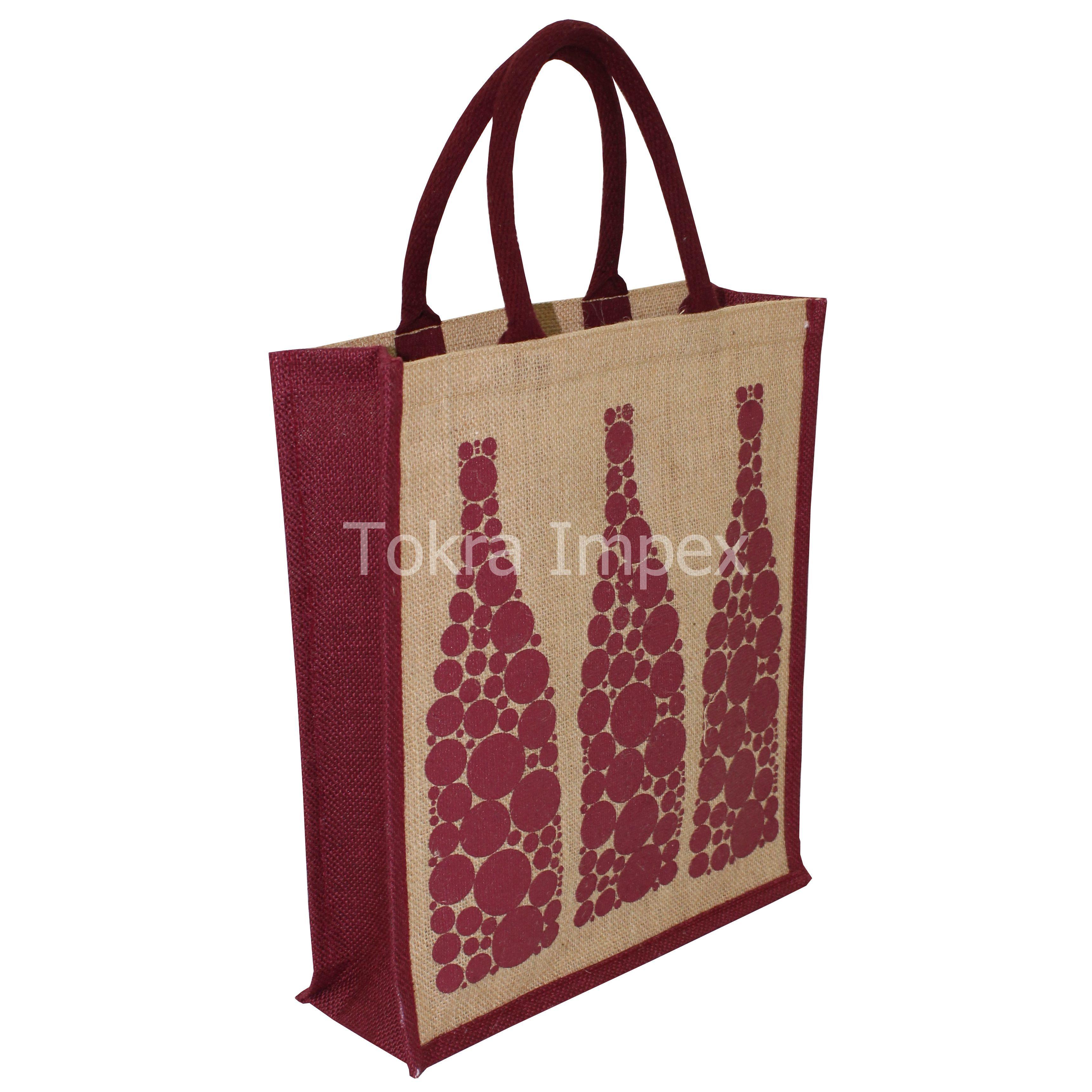 PP Laminated jute 3 Bottle Bag for Promotion & Gift